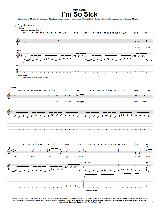 Flyleaf I'm So Sick sheet music preview music notes and score for Easy Guitar Tab including 4 page(s)