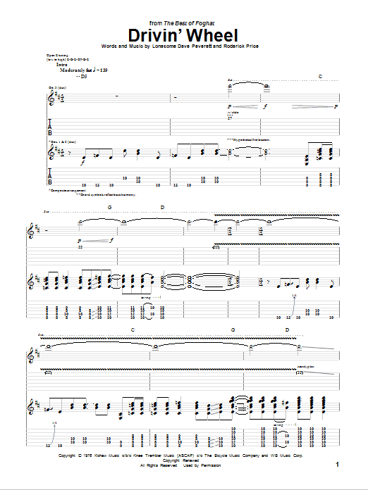 Foghat Drivin' Wheel sheet music notes and chords