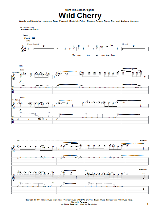 Foghat Wild Cherry sheet music notes and chords