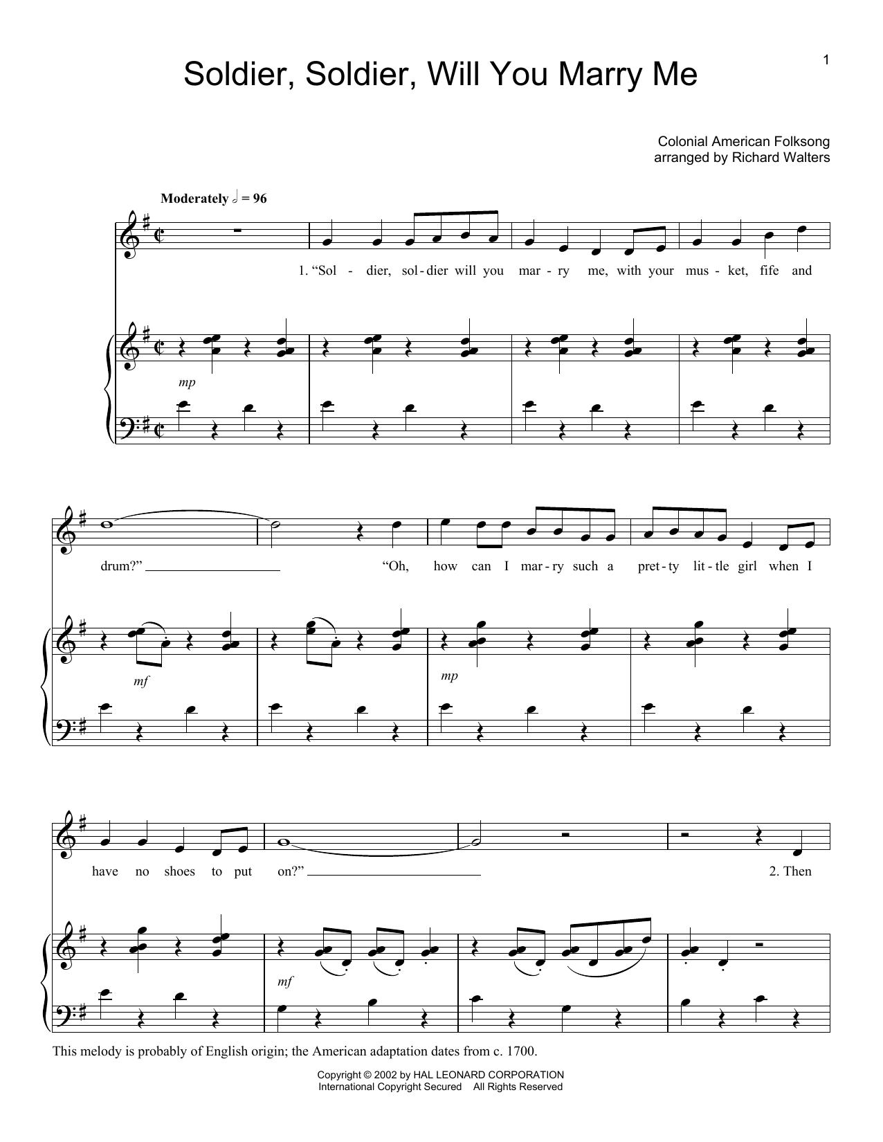 Folk Song Soldier, Soldier Will You Marry Me sheet music preview music notes and score for Piano, Vocal & Guitar (Right-Hand Melody) including 5 page(s)