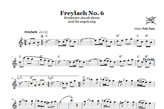 Download Folk Tune 'Freylach No. 6 (Romanian-Jewish Dance (And The Angels Sing))' Digital Sheet Music Notes & Chords and start playing in minutes
