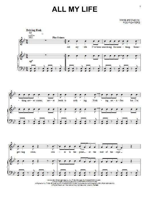Foo Fighters All My Life sheet music preview music notes and score for Guitar Tab including 10 page(s)