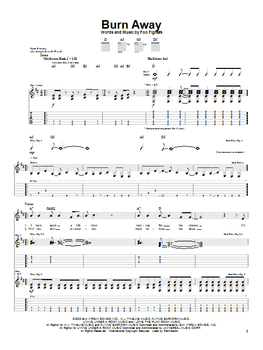 Foo Fighters Burn Away sheet music notes and chords