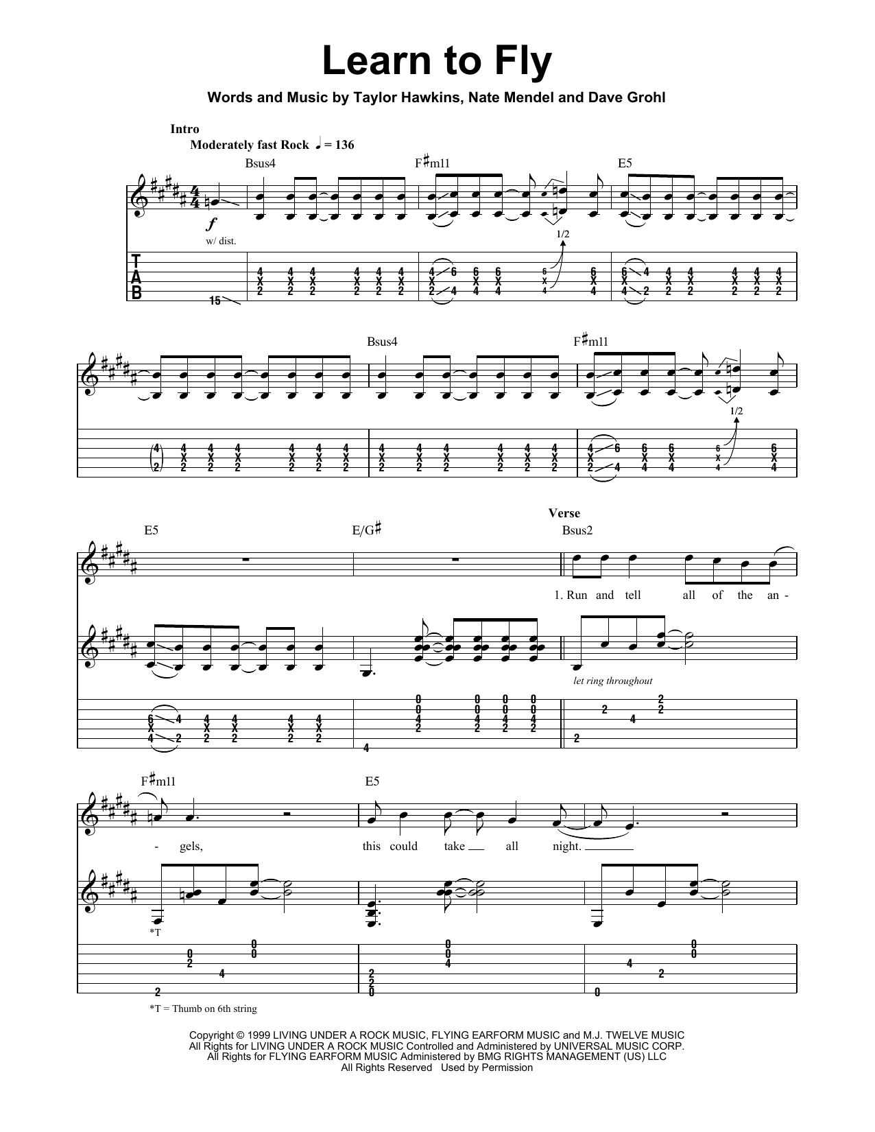 Foo Fighters Learn To Fly sheet music preview music notes and score for Guitar Tab including 8 page(s)