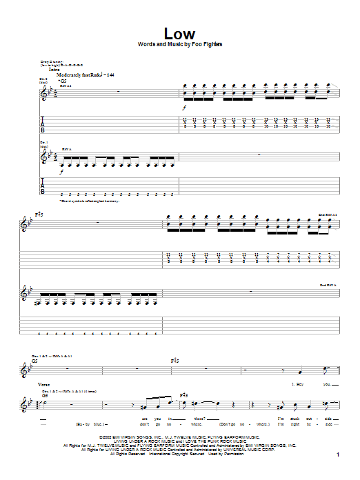 Foo Fighters Low sheet music notes and chords