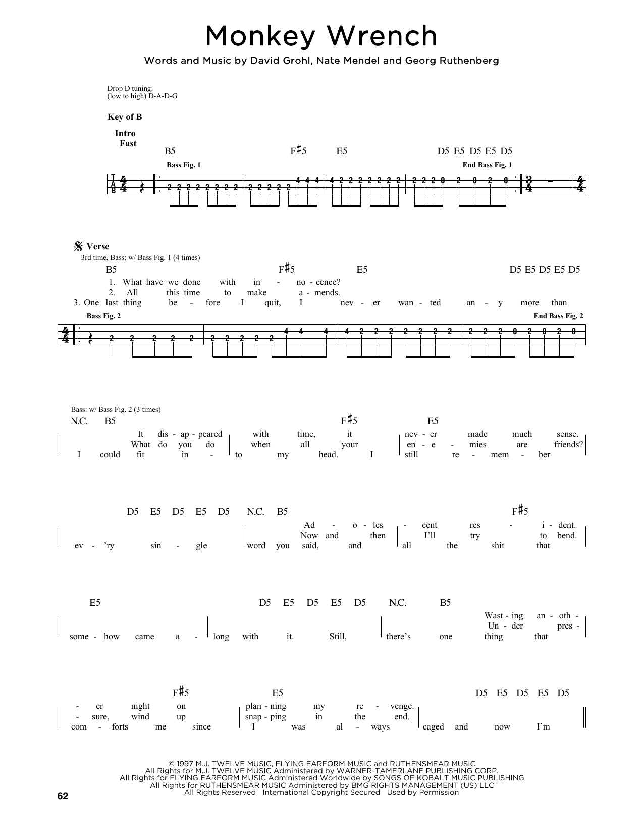 Foo Fighters Monkey Wrench sheet music notes and chords