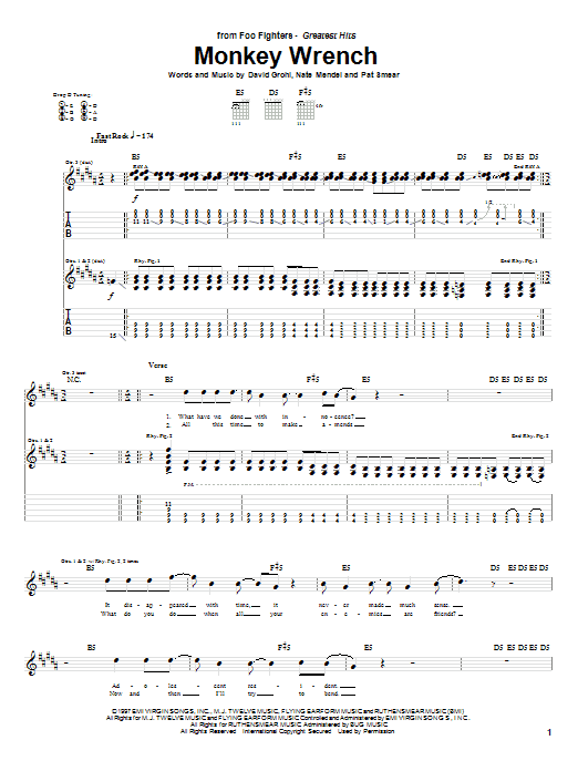 Foo Fighters Monkey Wrench sheet music preview music notes and score for Guitar Tab including 8 page(s)