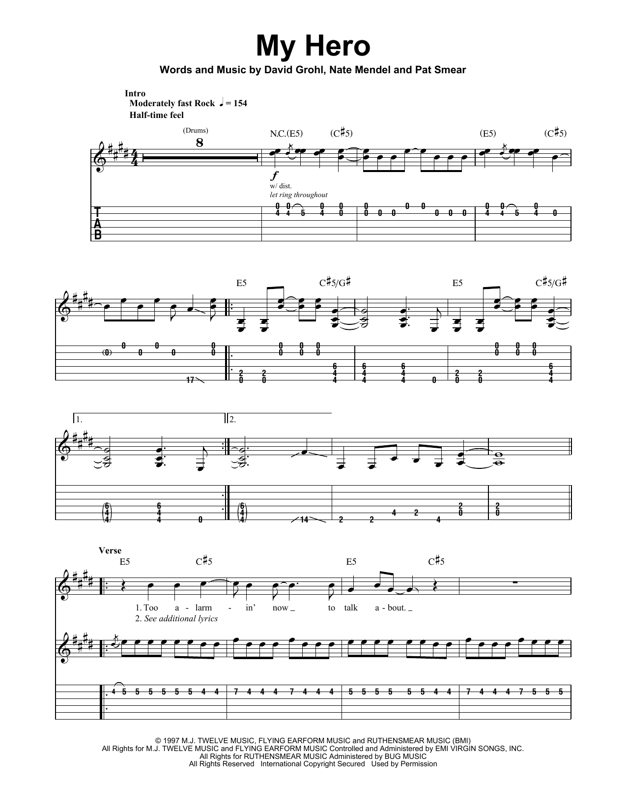 Foo Fighters My Hero sheet music preview music notes and score for Guitar Tab including 6 page(s)