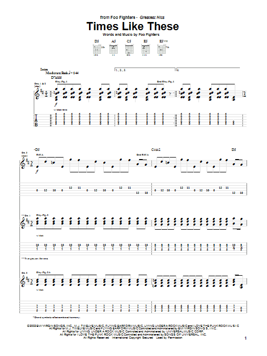 Foo Fighters Times Like These sheet music preview music notes and score for Piano, Vocal & Guitar (Right-Hand Melody) including 9 page(s)