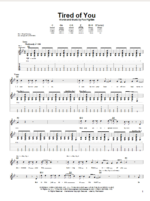 Foo Fighters Tired Of You sheet music notes and chords
