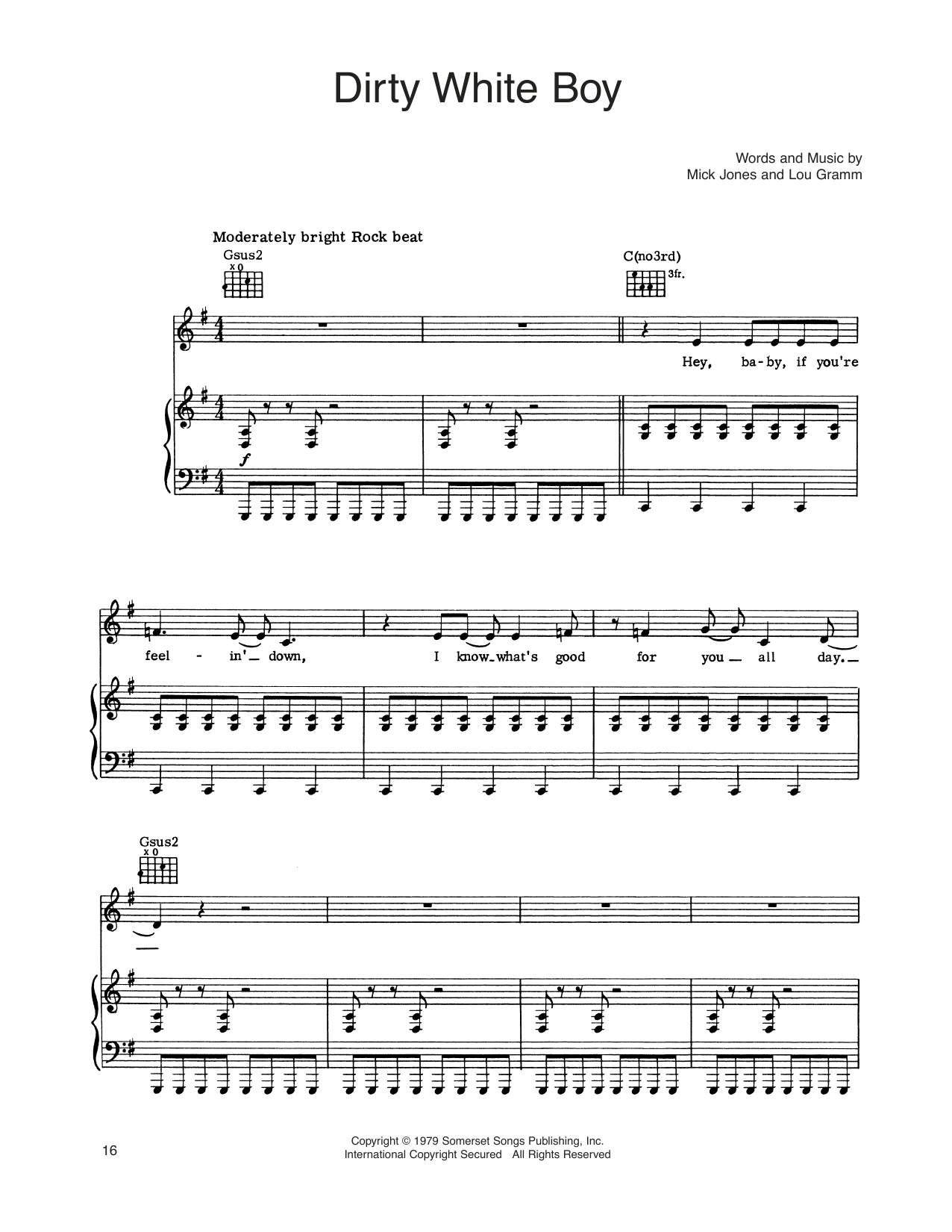 Foreigner Dirty White Boy sheet music notes and chords