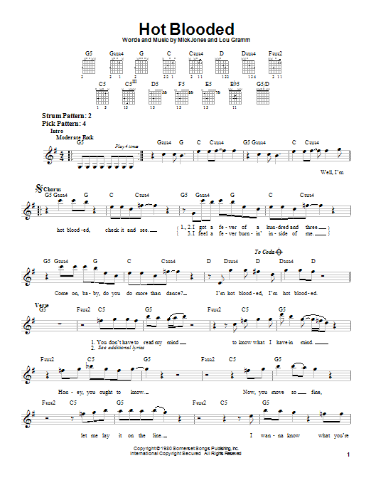 Foreigner Hot Blooded sheet music notes and chords