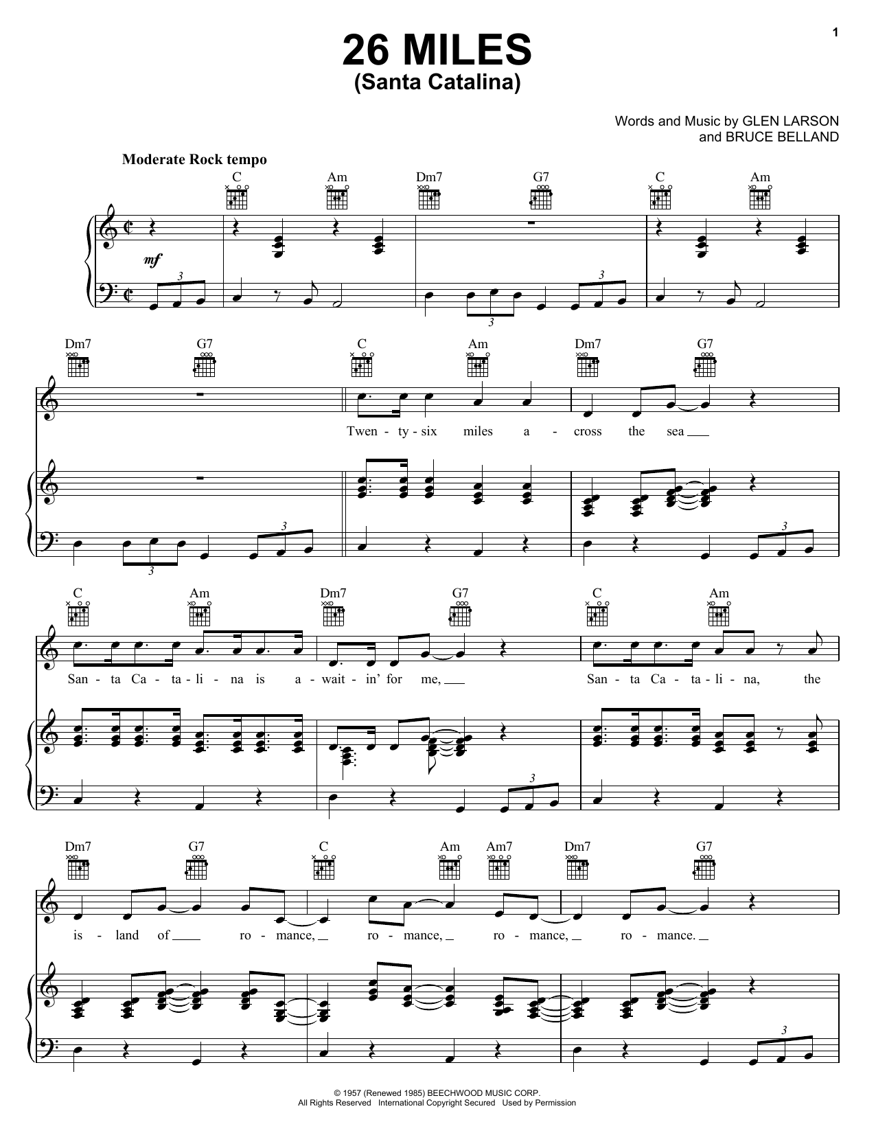 Four Preps 26 Miles (Santa Catalina) sheet music notes and chords