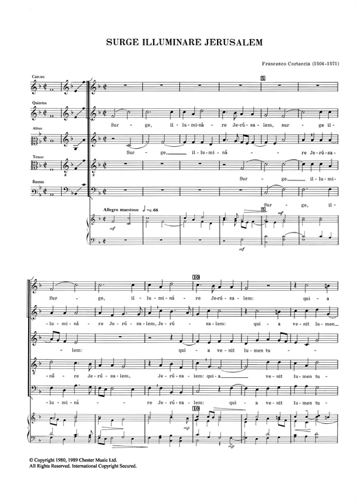 Download Francesco Corteccia 'Surge Illuminare Jerusalem' Digital Sheet Music Notes & Chords and start playing in minutes