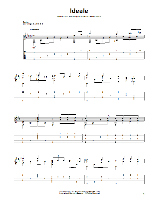 Francesco Paolo Tosti Ideale sheet music preview music notes and score for Guitar Tab including 5 page(s)