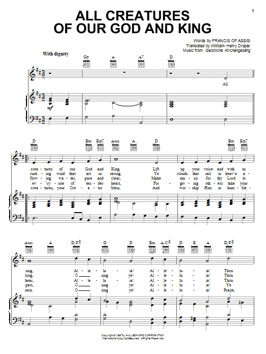 Francis of Assisi All Creatures Of Our God And King sheet music preview music notes and score for Piano, Vocal & Guitar (Right-Hand Melody) including 2 page(s)