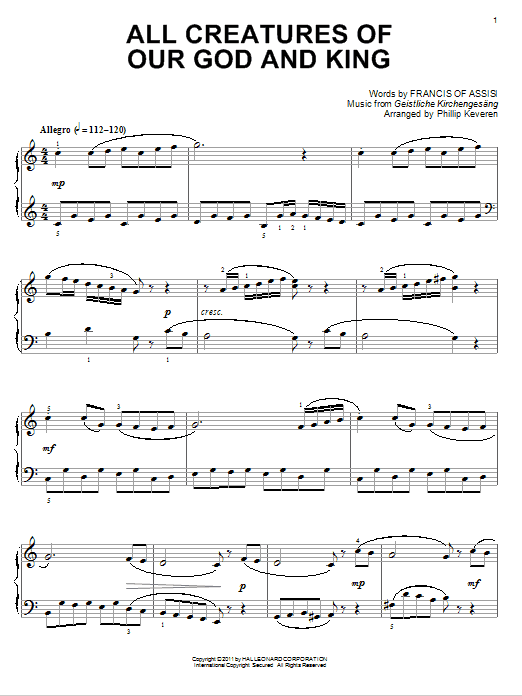 Download Francis of Assisi 'All Creatures Of Our God And King' Digital Sheet Music Notes & Chords and start playing in minutes