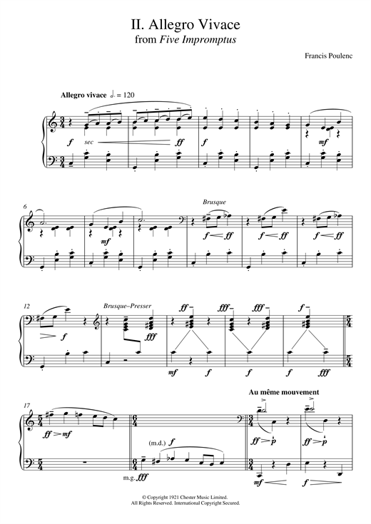 Francis Poulenc Allegro Vivace (From Five Impromptus) sheet music preview music notes and score for Piano including 3 page(s)