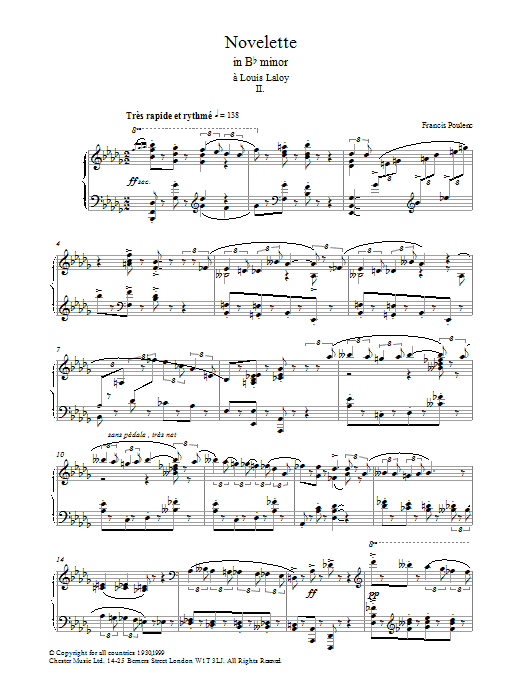 Francis Poulenc Novelette In B Flat Minor, II (from the Three Novelettes) sheet music preview music notes and score for Piano including 4 page(s)