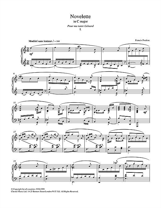 Download Francis Poulenc 'Novelette In C Major, I (from the Three Novelettes)' Digital Sheet Music Notes & Chords and start playing in minutes