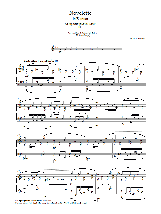 Francis Poulenc Novelette In E Minor, III (from the Three Novelettes) sheet music preview music notes and score for Piano including 4 page(s)