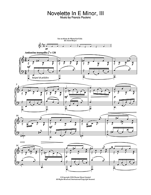 Download Francis Poulenc 'Novelette In E Minor, III (from the Three Novelettes)' Digital Sheet Music Notes & Chords and start playing in minutes