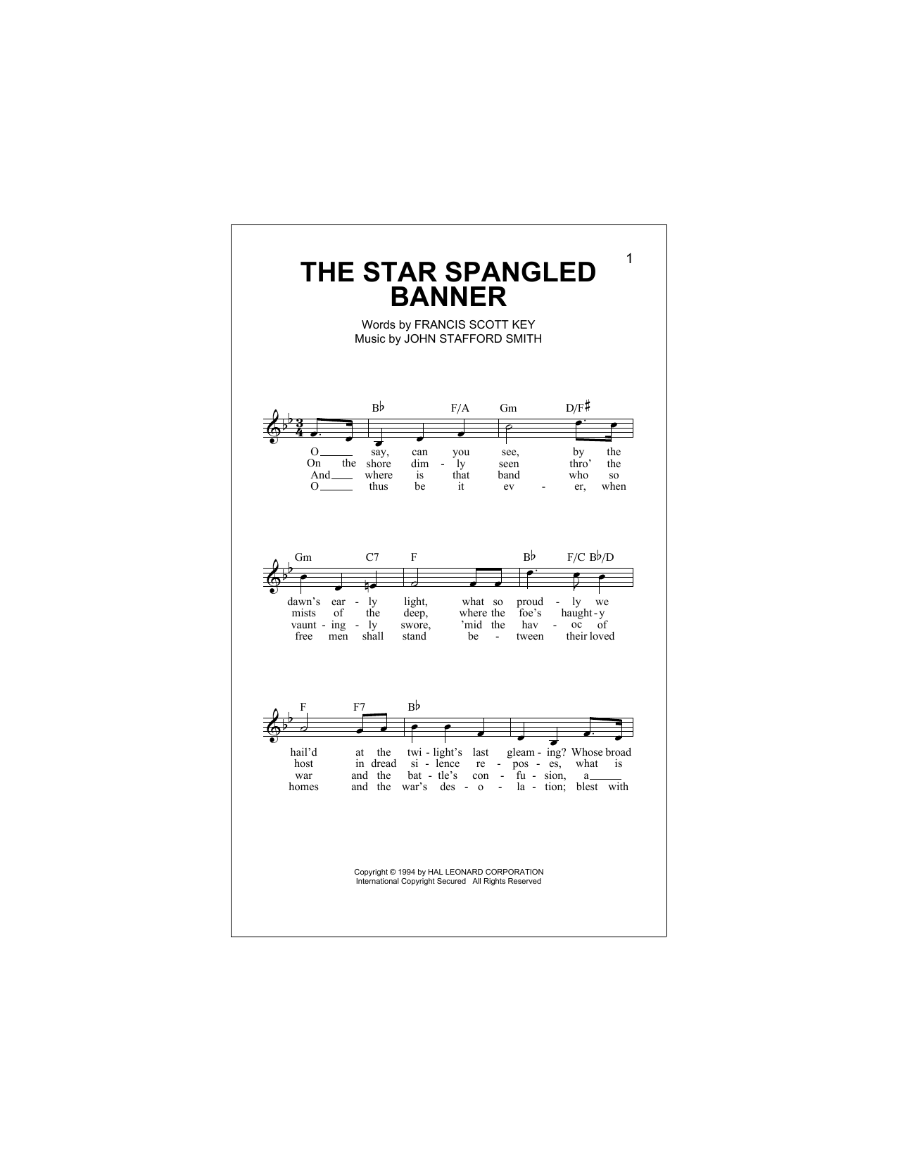 Download Francis Scott Key 'The Star-Spangled Banner' Digital Sheet Music Notes & Chords and start playing in minutes