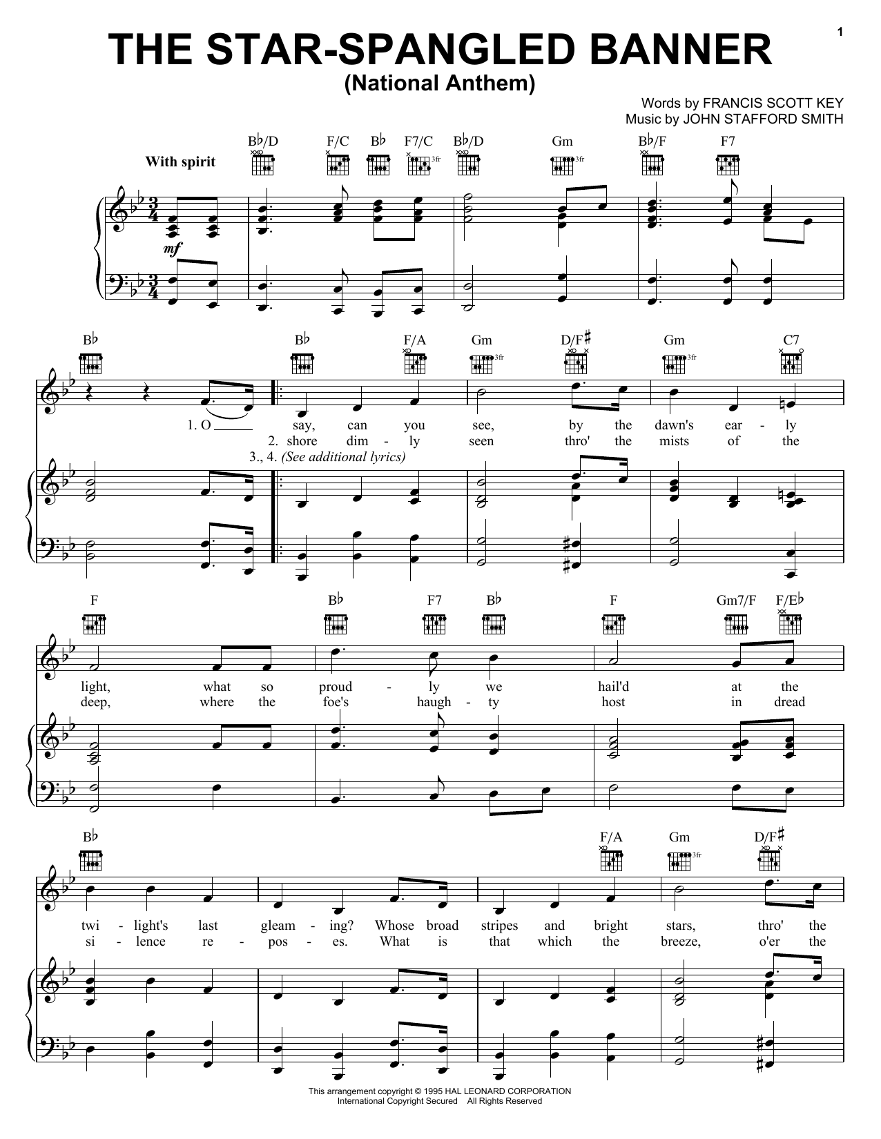 John Stafford Smith The Star Spangled Banner sheet music preview music notes and score for Piano, Vocal & Guitar (Right-Hand Melody) including 3 page(s)