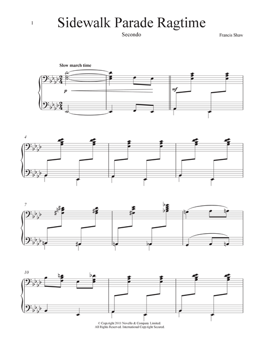 Download Francis Shaw 'Sidewalk Parade (Ragtime)' Digital Sheet Music Notes & Chords and start playing in minutes