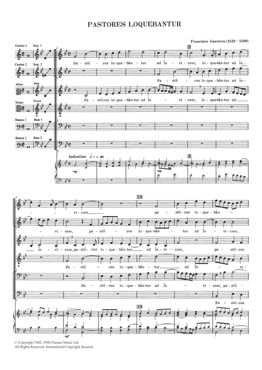 Download Francisco Guerrero 'Pastores Loquebantur' Digital Sheet Music Notes & Chords and start playing in minutes