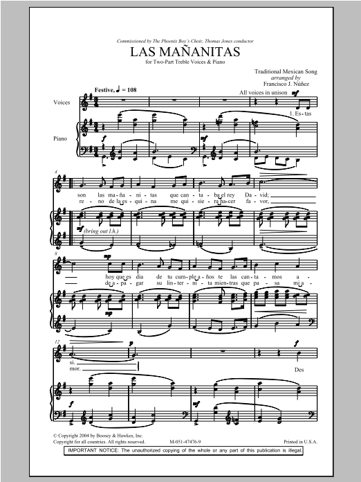 Traditional Las Mananitas (arr. Francisco J. Nunez) sheet music preview music notes and score for 2-Part Choir including 6 page(s)