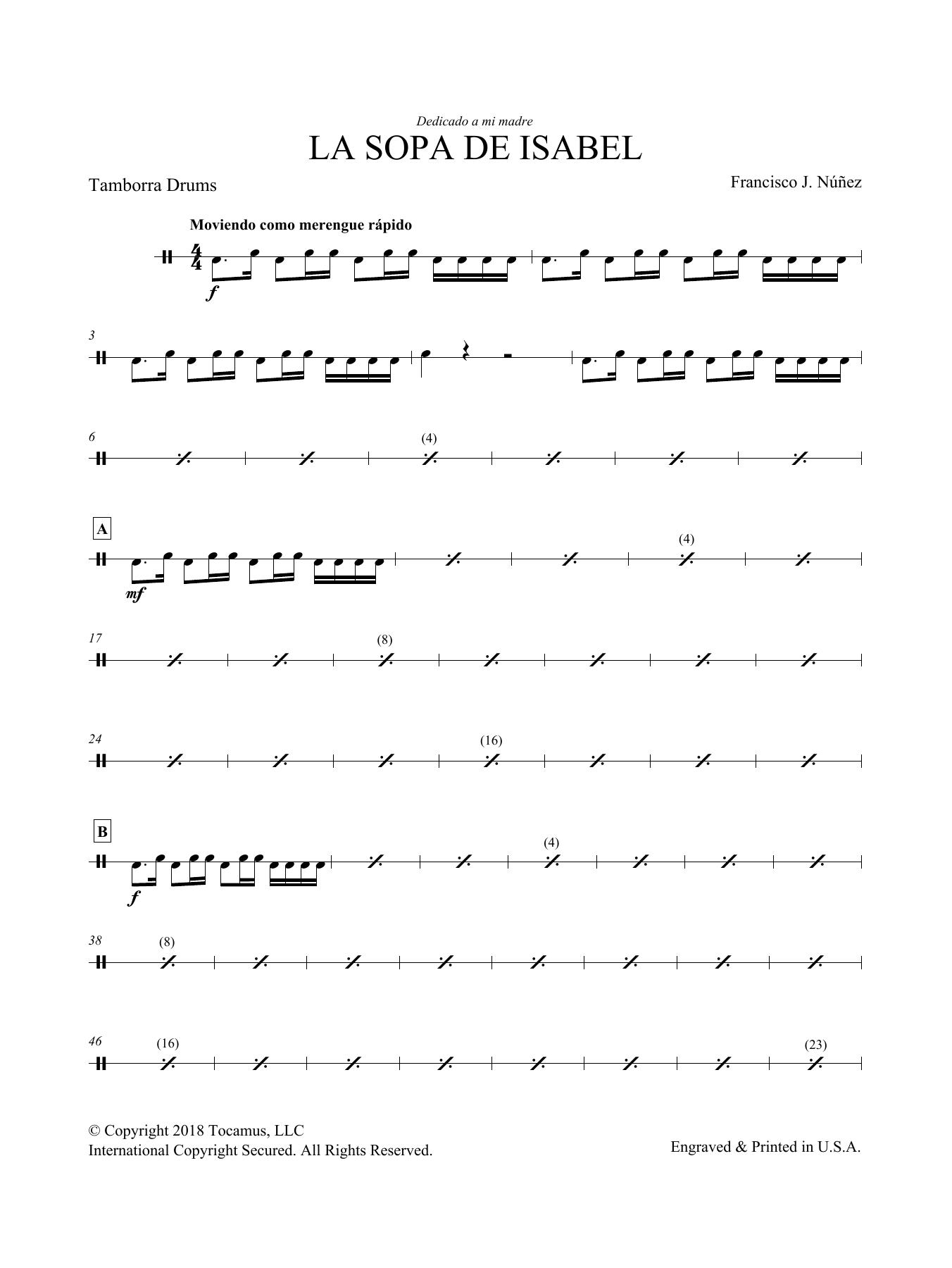 Francisco Nunez La Sopa de Isabel - Optional Percussion sheet music preview music notes and score for Choir Instrumental Pak including 2 page(s)