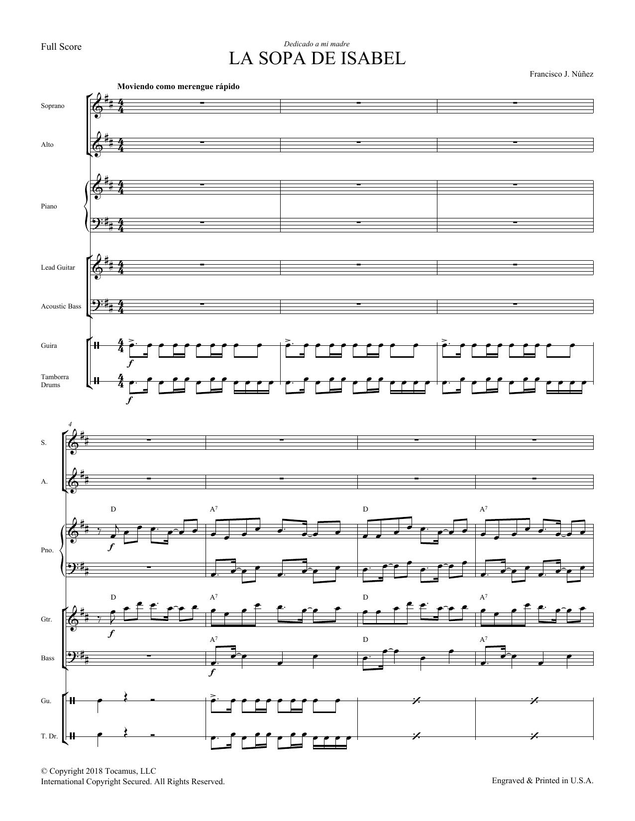 Francisco Nunez La Sopa de Isabel - Score sheet music preview music notes and score for Choir Instrumental Pak including 16 page(s)