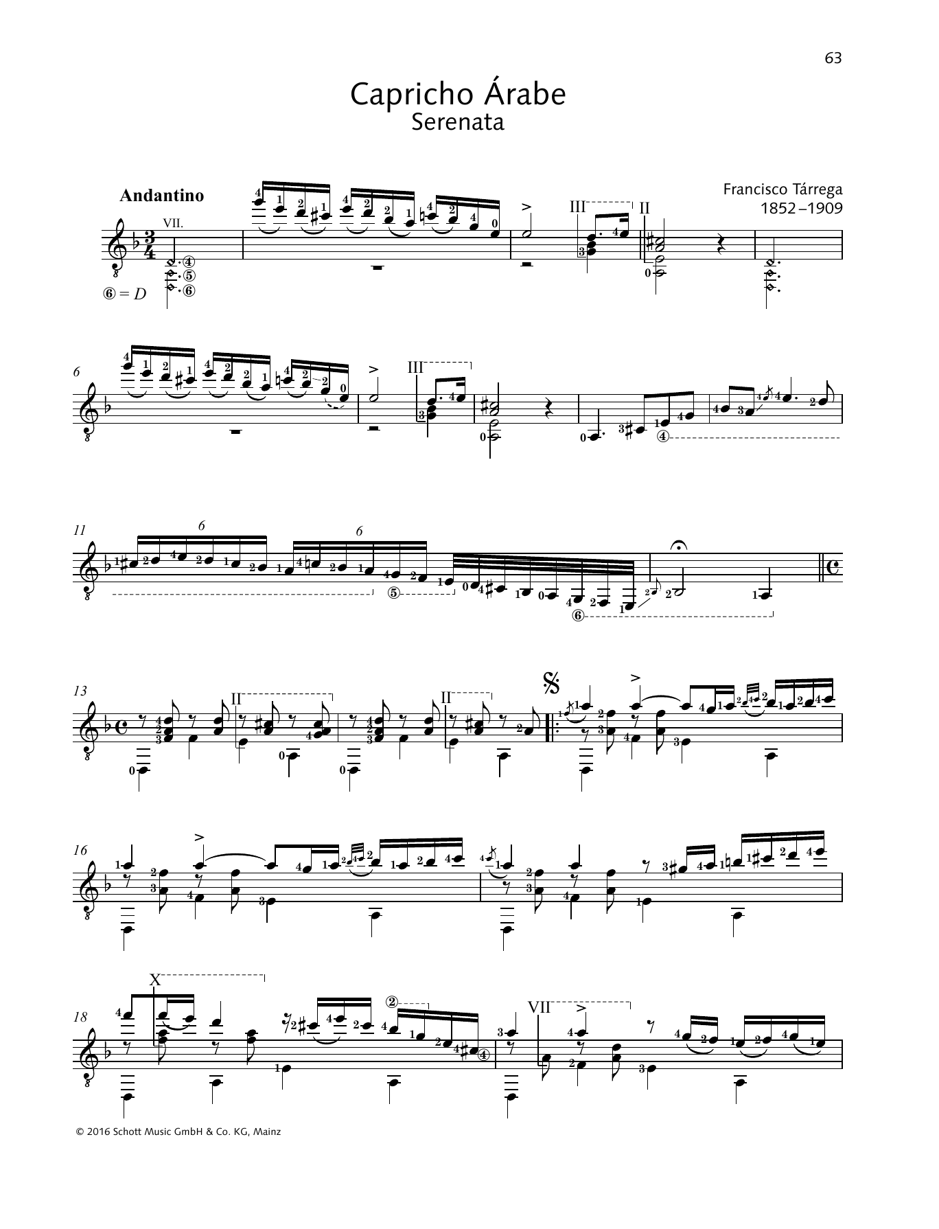 Francisco Tarrega Capricho Arabe sheet music preview music notes and score for Solo Guitar Tab including 3 page(s)
