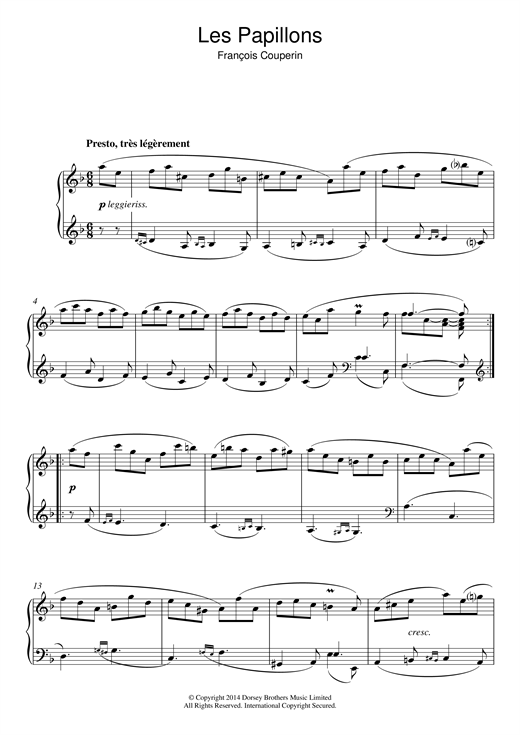 Download Francois Couperin 'Les Papillons' Digital Sheet Music Notes & Chords and start playing in minutes