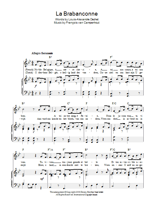 François van Campenhout La Brabanconne (Belgian National Anthem) sheet music preview music notes and score for Piano, Vocal & Guitar (Right-Hand Melody) including 2 page(s)