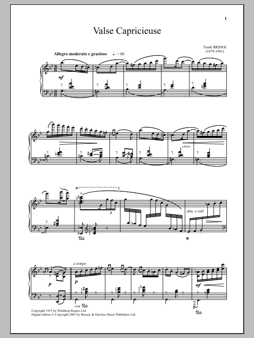 Download Frank Bridge 'Valse Capricieuse' Digital Sheet Music Notes & Chords and start playing in minutes