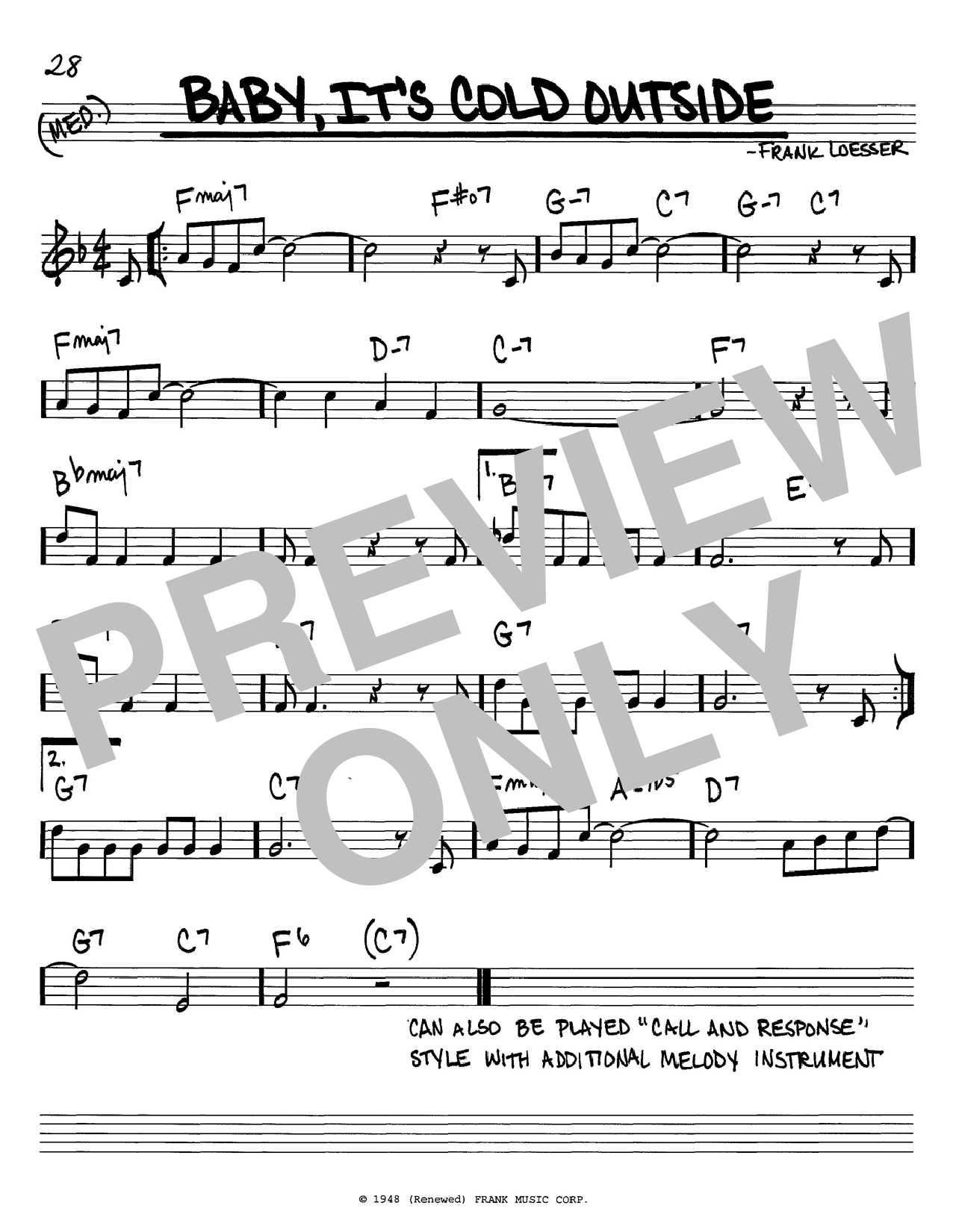 Download Frank Loesser 'Baby, It's Cold Outside (jazz version)' Digital Sheet Music Notes & Chords and start playing in minutes