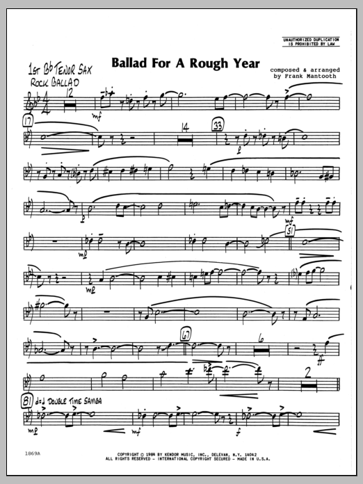 Frank Mantooth Ballad For A Rough Year - 1st Bb Tenor Saxophone sheet music preview music notes and score for Jazz Ensemble including 2 page(s)