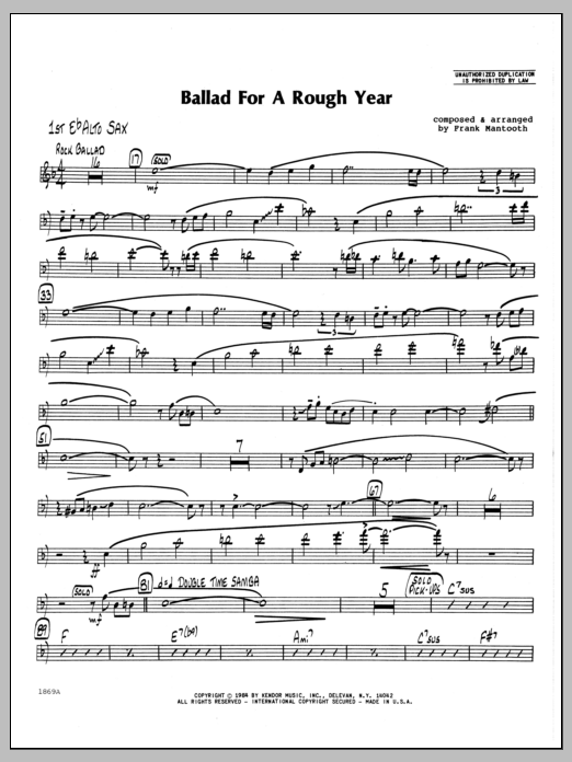 Frank Mantooth Ballad For A Rough Year - 1st Eb Alto Saxophone sheet music preview music notes and score for Jazz Ensemble including 2 page(s)