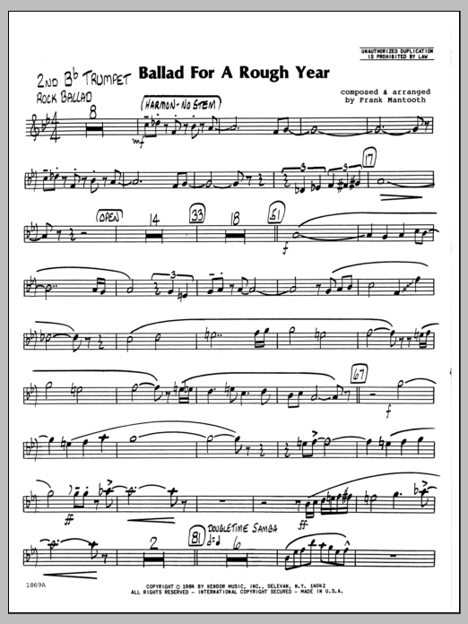 Frank Mantooth Ballad For A Rough Year - 2nd Bb Trumpet sheet music preview music notes and score for Jazz Ensemble including 2 page(s)