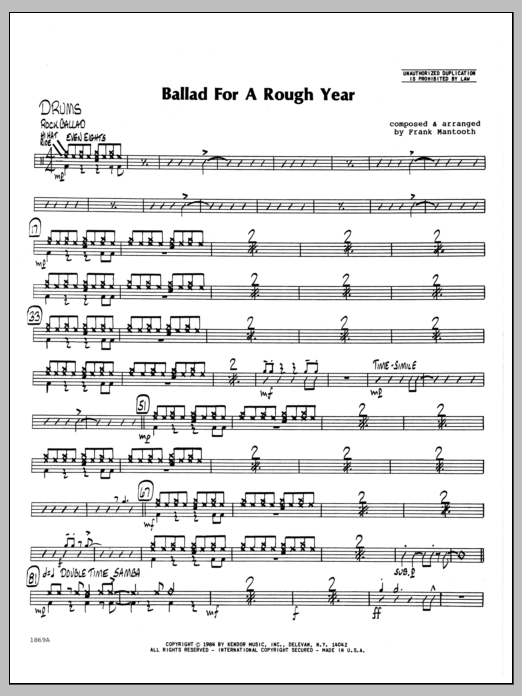 Frank Mantooth Ballad For A Rough Year - Drums sheet music preview music notes and score for Jazz Ensemble including 2 page(s)