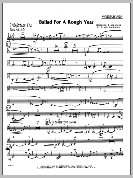 Frank Mantooth Ballad For A Rough Year - Eb Baritone Sax sheet music preview music notes and score for Jazz Ensemble including 2 page(s)