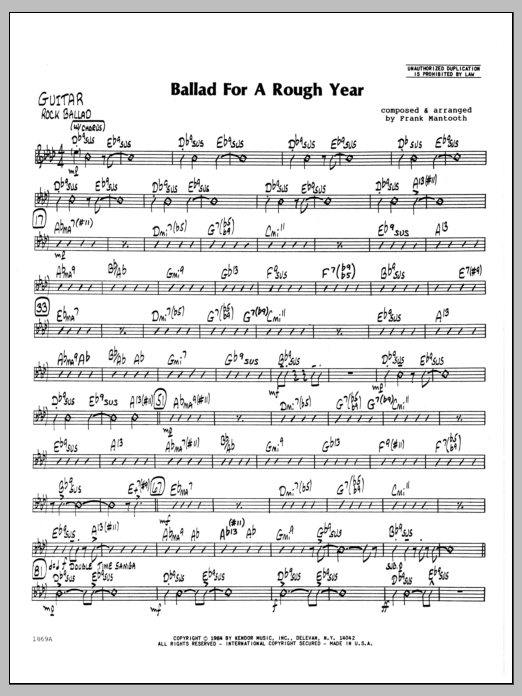 Frank Mantooth Ballad For A Rough Year - Guitar sheet music preview music notes and score for Jazz Ensemble including 2 page(s)