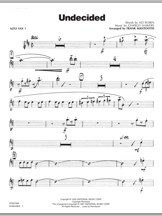 Frank Mantooth Undecided - Alto Sax 1 sheet music preview music notes and score for Jazz Ensemble including 2 page(s)