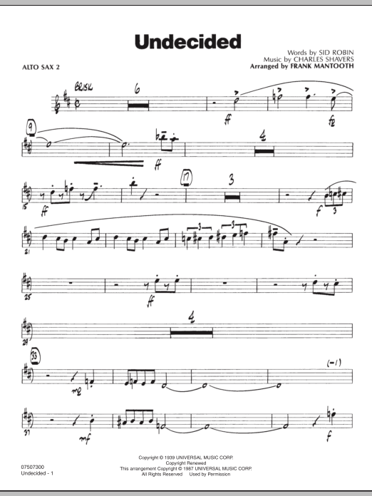 Frank Mantooth Undecided - Alto Sax 2 sheet music preview music notes and score for Jazz Ensemble including 2 page(s)