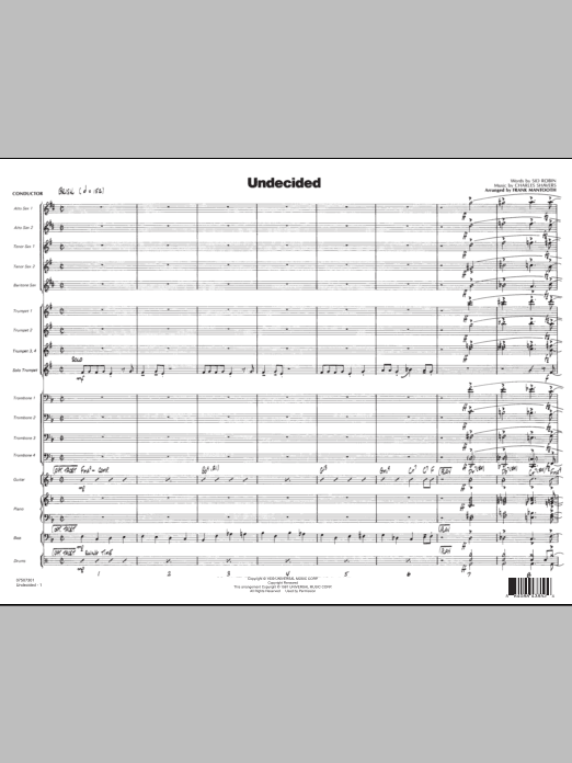 Frank Mantooth Undecided - Conductor Score (Full Score) sheet music preview music notes and score for Jazz Ensemble including 10 page(s)