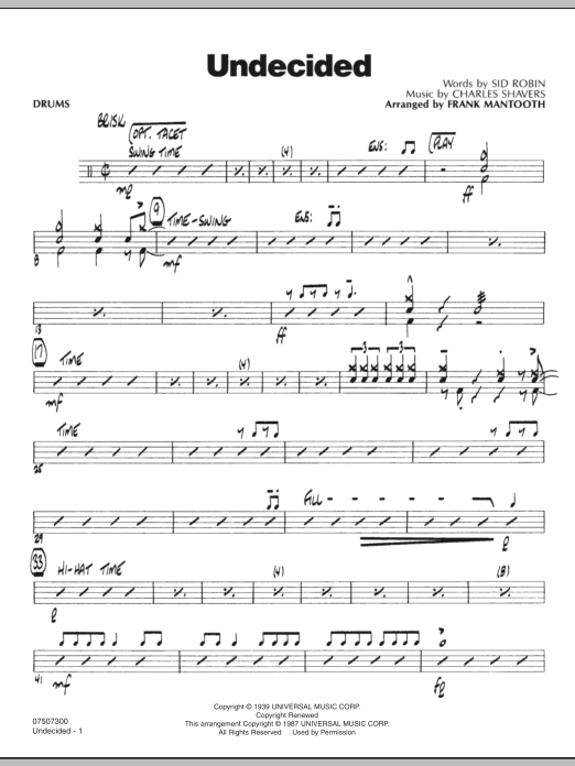 Frank Mantooth Undecided - Drums sheet music preview music notes and score for Jazz Ensemble including 3 page(s)