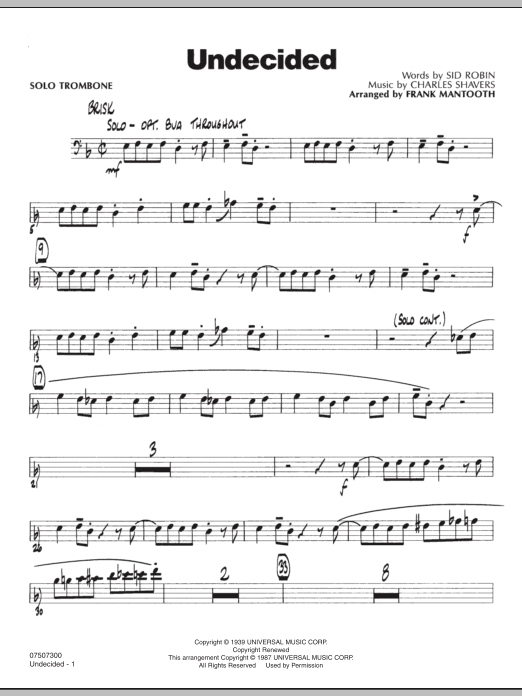 Frank Mantooth Undecided - Solo Trombone sheet music preview music notes and score for Jazz Ensemble including 2 page(s)