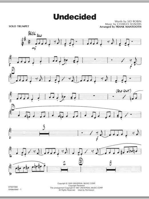 Frank Mantooth Undecided - Solo Trumpet sheet music preview music notes and score for Jazz Ensemble including 2 page(s)